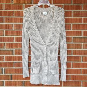 American Eagle Chunky Cotton Waffle Knit Cardigan